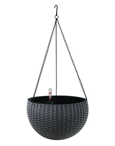 TABOR TOOLS Self-Watering Hanging Planter for Indoor-Outdoor. Wicker-Design, 10 Inch Diameter Plastic Weave Basket with Water Level Indicator Gauge. TB707A. (Grey) ()
