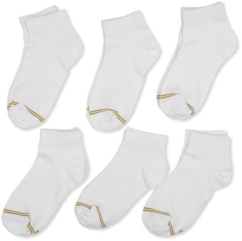 Gold Toe Big Girls' 6 Pack Flat Knit Quarter Sock, White, Large - Childrens Toe Socks