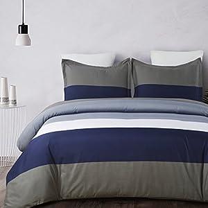 Vaulia Lightweight Microfiber Duvet Cover Set, Stripe Pattern Design, Navy & Brown - Queen Size