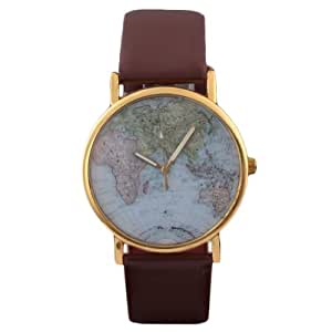 Wuiyepo Unisex Marrón Mapa del Mundo Reloj de pulsera pu banda de cuarzo Relojes
