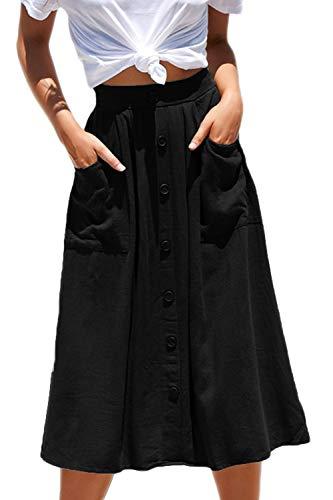 - Meyeeka Womens Casual High Waist Flared A-line Skirt Pleated Midi Skirt with Pocket (L, Black)