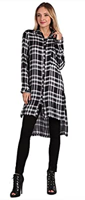 UU Fashion Womens Regular Size Plaid Long Sleeve Button Down Dress Top