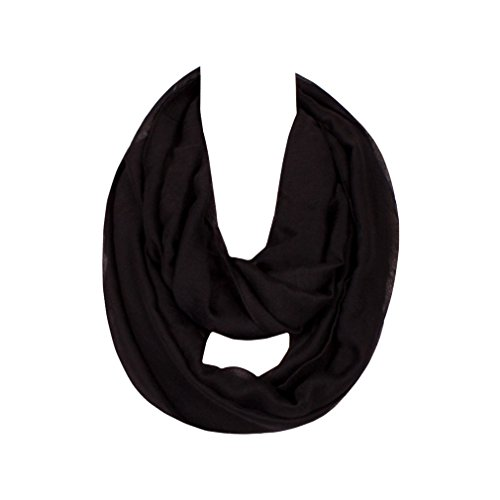 GERINLY Solid Color Ladies Soft Infinity Loop Scarf (Black) (Tea Framed Party)