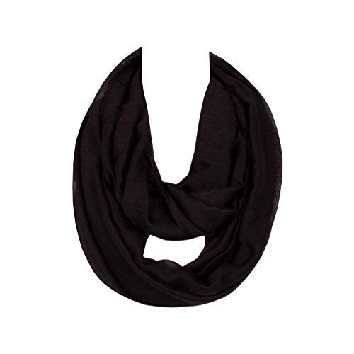 GERINLY Solid Color Ladies Soft Infinity Loop Scarf (Black) (Party Framed Tea)