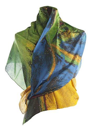 Art Silk Scarf - WOMENS' 100% SILK LARGE SCARF LUXURIOUS BEAUTIFUL GIFT by Artist DESIGNER SHOSHANA ERNST