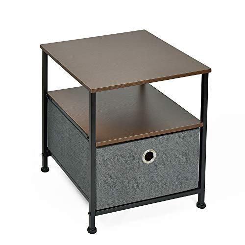 - WELLAND Bedside Table, Sofa End Table with Fabric Drawer for Kids Room/Girls Room/Nursery, Wood Top, Easy Assembly, Espresso Finish, 15.75 x 15.75 x 18.37 Inch