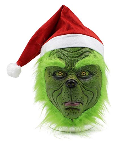 NECHARI Christmas Mask Seuss Deluxe Latex Green Full Head Christmas Fun with Red Hat and Green Mask -