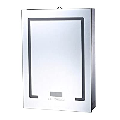 HOMCOM 28 x 20 Wall Mounted LED Lit Bathroom Mirror Cabinet with Bluetooth Speaker and LCD Display - ✅✔ STYLISH LOOK: This HomCom steel wall mount cabinet with a mirrored door and LED strips presents a polished look that complements a wide range of decor styles. ✅✔ AMPLE COMPACT STORAGE: An all-in-one mirror door hides 3 shelves in a compact style to conserve space in smaller bathrooms and gives you the ability to store personal hygiene essentials out of sight. ✅✔ BLUETOOTH SPEAKER: Each side of the cabinet(left and right) is equipped with a Bluetooth speaker that easily connects to your phone or any bluetooth device to allow you to enjoy your music in the bathroom. - shelves-cabinets, bathroom-fixtures-hardware, bathroom - 41gKFbSyxQL. SS400  -
