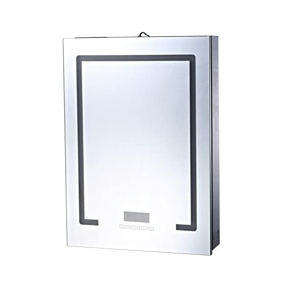 HOMCOM 28 x 20 Wall Mounted LED Lit Bathroom Mirror Cabinet with Bluetooth Speaker and LCD Display - ✅✔ STYLISH LOOK: This HomCom steel wall mount cabinet with a mirrored door and LED strips presents a polished look that complements a wide range of decor styles. ✅✔ AMPLE COMPACT STORAGE: An all-in-one mirror door hides 3 shelves in a compact style to conserve space in smaller bathrooms and gives you the ability to store personal hygiene essentials out of sight. ✅✔ BLUETOOTH SPEAKER: Each side of the cabinet(left and right) is equipped with a Bluetooth speaker that easily connects to your phone or any bluetooth device to allow you to enjoy your music in the bathroom. - shelves-cabinets, bathroom-fixtures-hardware, bathroom - 41gKFbSyxQL. SS570  -