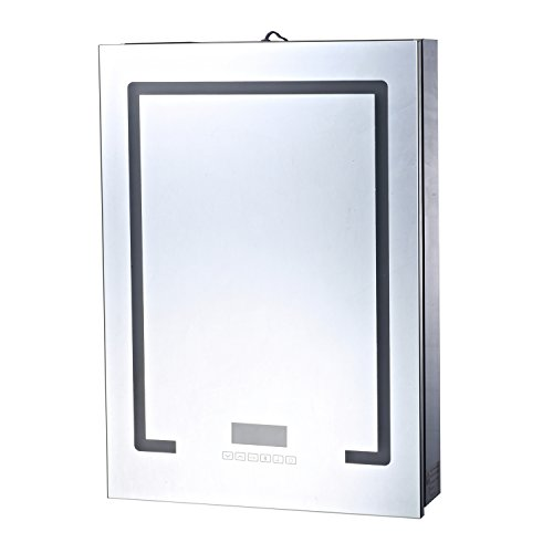 41gKFbSyxQL - HomCom 28'' x 20'' Wall Mounted LED Lit Bathroom Mirror Cabinet with Bluetooth Speaker and LCD Display