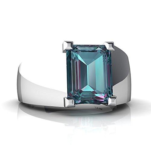 14kt White Gold Lab Alexandrite 9x7mm Emerald_Cut Men