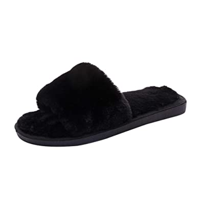 2f1c7df42f21 CHLZYD Women Ladies Slip On Sliders Fluffy Faux Fur Flat Slipper Flip Flop  Sandal BK