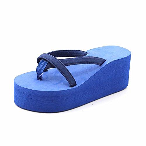 Tacón con De YUCH Mujer Sandalias Zapatillas Blue La Alto fqXqg