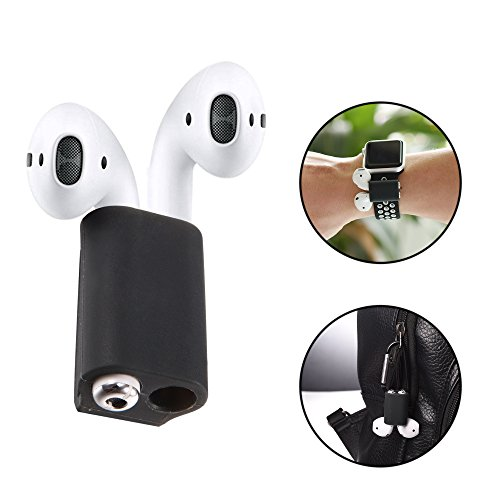 Bandmax Compatible Silicone Airpods Holder Shock Resistant AirPods Stand and Carabiner Airpods Accessories Compatible Apple AirPods (Black) (Apple Earpods Best Price)
