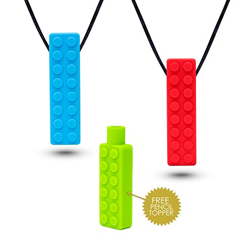 Sensory Necklace (2 PACK + FREE PENCIL TOPPER) - Chewy Necklace - Sensory Chewelry for Kids with Autism ADHD Biting Needs - Chew Toy for Boys and Girls - MORE FIRM by Optimum (Image #8)