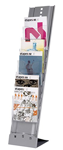 Paperflow Portable 7-Compartment Floor Literature Display Rack, 45.29 x 9.83 x 14.17 Inches, Silver (2857.35) by Paperflow