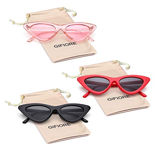 7086ea2bbed6 Gifiore Retro Vintage Cat Eye Sunglasses for Women Clout Goggles Plastic  Frame Glasses (Black&Red&Pink,