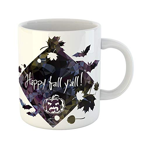 (Emvency Coffee Tea Mug Gift 11 Ounces Funny Ceramic Halloween Mosaic Label Falling Leaves Silhouettes and Greeting Text Happy Fall Gifts For Family Friends Coworkers Boss)