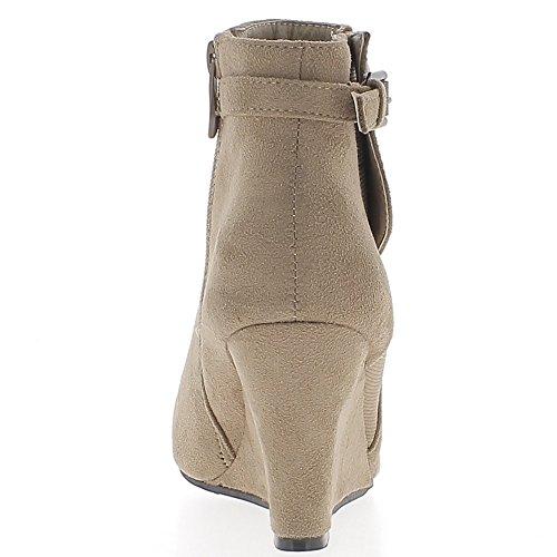 Stivali zeppa tacco di sguardo di camoscio taupe 8cm