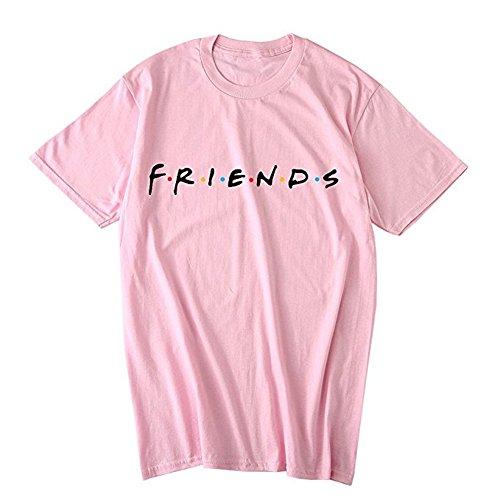 Lettera Cime Friends Shirt Manica Estate Moda Maglietta Stampa Tomwell Donna T Tops Rosa Corta Casuale Tee UxOSXq