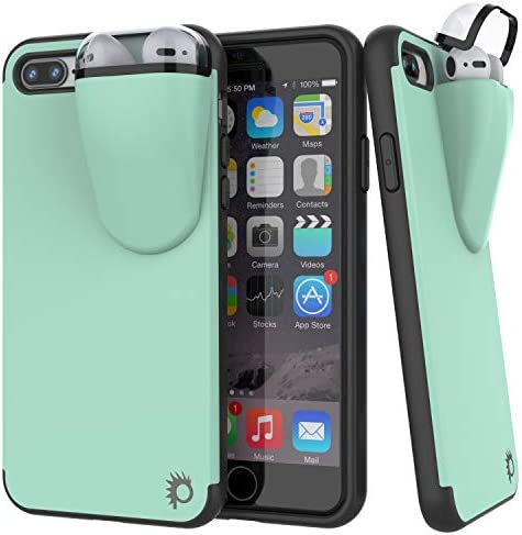 Punkcase iPhone 8 Plus Airpods Case Holder (TopPods Series) | Slim & Durable 2 in 1 Cover Designed for iPhone 8 Plus (5.5″) | Protects Your Phone & Stores Your AirPods Gen. 1 & 2 [Teal]