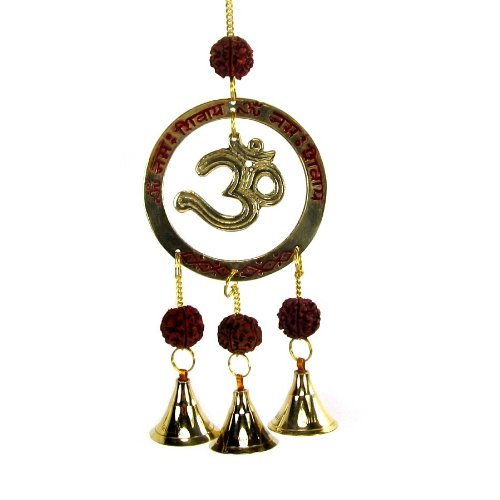 """Hindu OM Symbol with Rudraksha Seed Wind Chime with 3 Bells, 10 """" Long Review"""