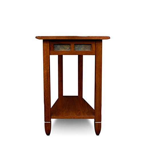 (Svitlife Ixia Rustic Oak and Slate Tile Recliner Wedge Table Coffee Top Antique Style Marble Glass Mid Century)