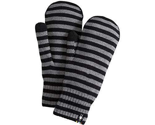 Nylon Striped Gloves (Smartwool Striped Knit Mitt (Black) Medium)