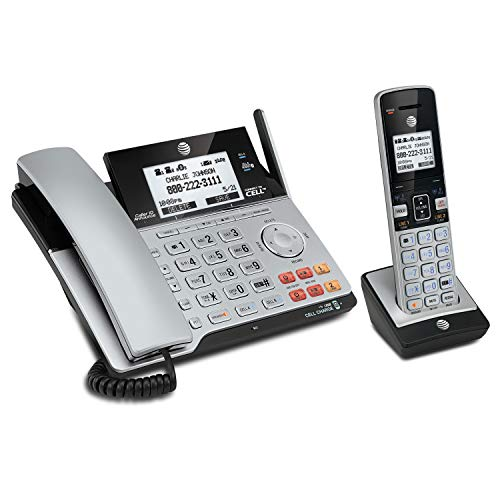 AT&T TL86103 DECT 6.0 Connect to Cell 2 Line Answering System with Caller ID/Call Waiting, 1 Corded & 1 Cordless Handset, Silver/Black - Enabled Phone System