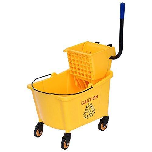 Custpromo Side Mop Bucket Press Wringer, 31 Quart Capacity, Yellow