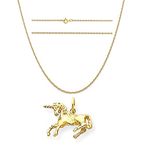 14k Yellow Gold Unicorn Charm on a 14K Yellow Gold Carded Rope Chain Necklace, 20