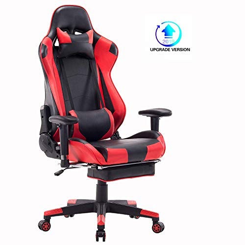 Blue Whale Gaming Chair PC Computer Game Chair with Footrest Racing Gamer Chair Ergonomic Office Chair High-Back PU Leather Computer Desk Chair with Lumbar Cushion and Headrest