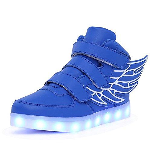 Luckfugui Kids Natale Bambino Ragazzo Ragazza Led Illumina Scarpe 11 Colori Top Top Lampeggiante Sneakers Cool Light, Scarpe Hiphop, Scarpe Da Ballo Street Bule