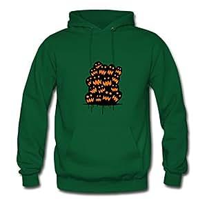 Green O-neck Halloween Pumpkins Scream Women Funny Hoodies X-large