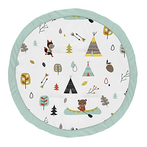 Sweet Jojo Designs Aqua and Yellow Woodland Playmat Tummy Time Baby and Infant Play Mat for Outdoor Adventure Collection