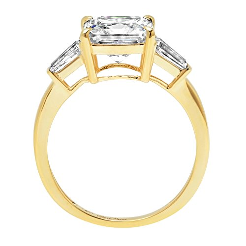 Asscher Baguette 3-Stone Classic Solitaire Designer Wedding Bridal Statement Anniversary Engagement Promise Ring 14k Yellow Gold, 3.7ct, 4.5 by Clara Pucci (Image #1)