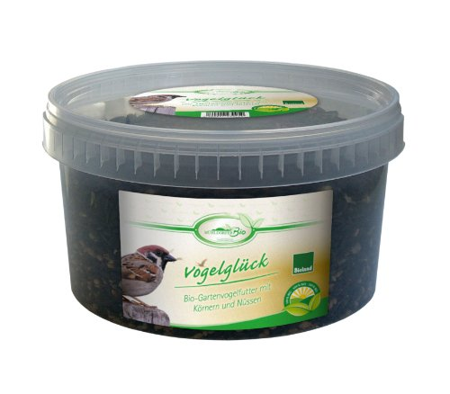 Mühldorfer Vogelglück 1,5kg Eimer Bio Wild- Gartenvogelfutter, 1er Pack (1 x 1.5 kg)