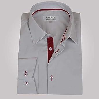 Ozoa-Camisa para hombre, color gris claro y burdeos CINTREE duo-Carpetas Gris Claro Medium: Amazon.es: Ropa y accesorios