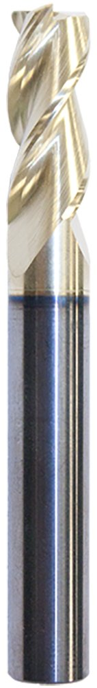Mastercut Tool 470-008-4 American Made 3 Flute Square Aluminum Xtreme High Impact Endmill with Wiper Flat and Edge Hone, PowerZ Coating, 1/4'' x 3/4'' x 1/4'' x 2-1/2''