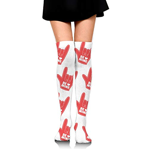 GERSWEET Knee High Tube Sports Socks for Girls Women Love Hands Compression Socks Over Thigh High Long Breathable Stockings ()