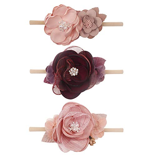 Baby Flower Headbands - Ncmama Nylon Floral Hair Bows Elastic Bands For Newborn Girls Infant Toddler Pack of 3
