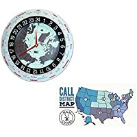 MFJ Clock, 12/24-hour, analog, 12in and Ham Guides TM Pocket Reference Card Bundle