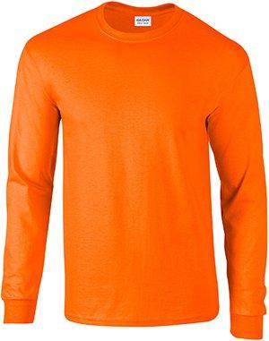Gildan Mens 6.1 oz. Ultra Cotton Long-Sleeve T-Shirt G240 -SAFETY ORANG 4XL by Gildan
