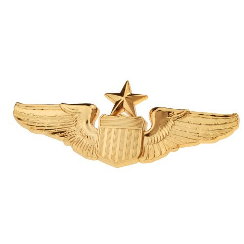 Generic Men's USAF U.S. Air Force Senior Pilot Metal Wing Insignia 1 1/2X 3 Gold