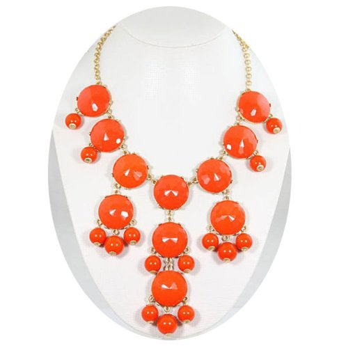 Orange big Bubble bib Necklace,Statement Necklace, Bubble Jewelry