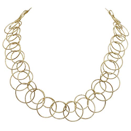 - Gypsy Jewels Thin Circles Lightweight Simple Boutique Necklace - Assorted Colors (Double Ring Gold Tone)