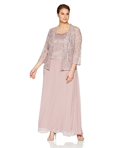 Emma Street Women's Plus Size 2 Piece Beaded Jacket and Gown, Mauve, 16w
