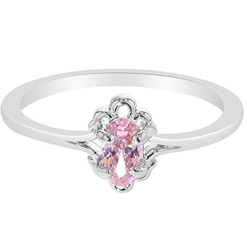 In Season Jewelry Rhodium Plated Solitaire Vintage Oval Pink Little Diva Girl Kids Ring