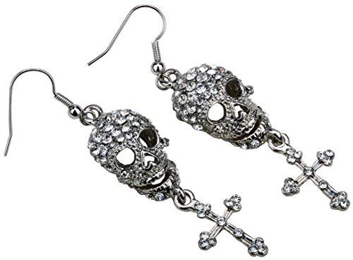 (Szxc Jewelry Women's Crystal Skull Cross Dangle Earrings)