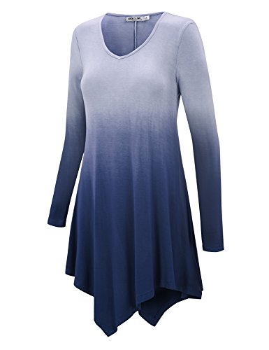 LL WT1050 Womens V Neck Long Sleeve Dip Dye Handkerchief Hem Tunic Top XL NAVY (Hem Top Dip)